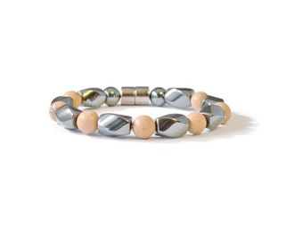 Magnetic Hematite and Grainstone Bracelet, Pain Relief Jewelry