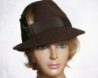 Samantha,  Fur Felt Fedora womens millinery hat,  color brown