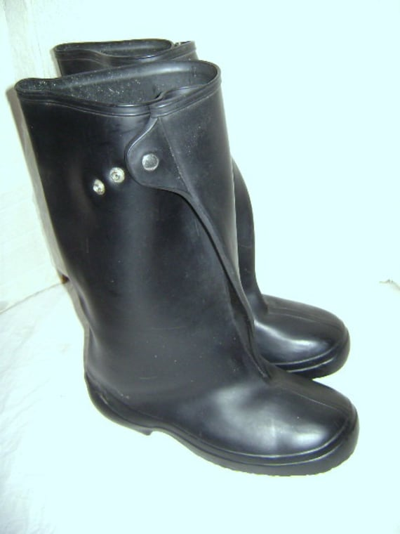 Vintage Rubber Rain Boots Galoshes Over Shoes Black Rubber