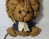 Gorgeous Vintage Burlap- Yute- Lion with Blue Tux.