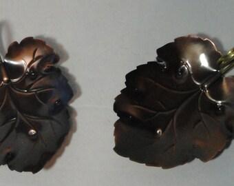 Vintage Coppercraft Guild Leaf Dish set of 2