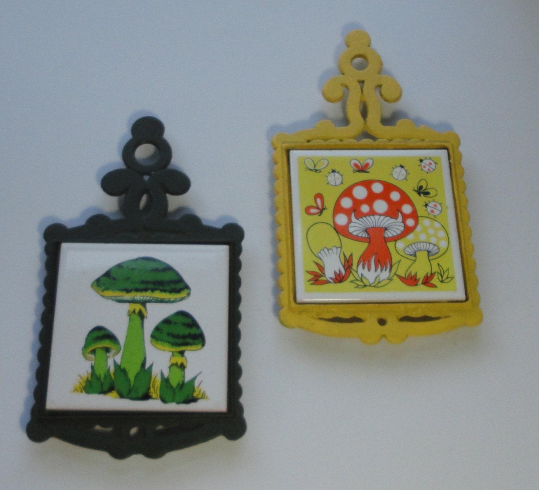 Vintage Cast Iron and Tile Mushroom Trivet. Set of 2 by Cosasraras