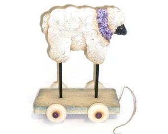 Hand Painted Sheep Wood Pull Toy, Handcrafted