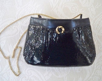 Vintage Purse Whiting and Davis Black Mesh Clutch Formal Made in USA