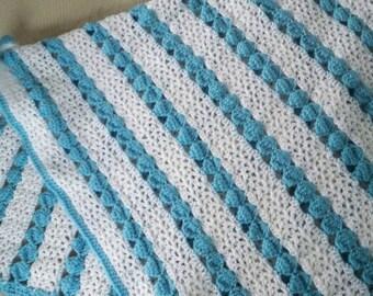 Vintage Baby Carriage Pram Afghan Blue and White Baby Blanket