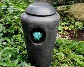 Half Size Raku Urn with Turqoise Stone/ handmade pottery