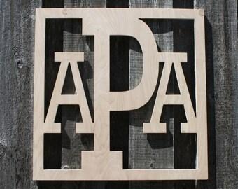 Square Block Monogram Wooden Monogram Letter Home Baby Boy Nursery Wedding Guestbook Decor - Unpainted - Block Monogram Font