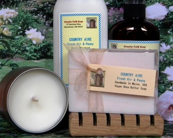 COUNTRY AIRE Soap Gift Set - Fresh Air & Peony Gift Set - Handmade Spa Set - Soap Candle Lotion n More