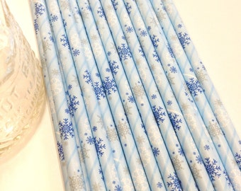 50 Blue Snowflakes Paper Straws - Perfect for Parties - Favors--Free Editable DIY Tags PDF