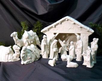 Ceramic Nativity Creche Scene Crackle