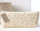 Pink and Cream Cottage Roses Cute Floral Pencil Case Long Zipper Pouch