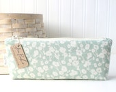 Mint Green and Off White Floral Cute Pencil Case Long Zipper Pouch