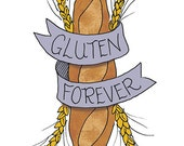 Baguette Temporary Tattoo - Gluten Forever - Foodietoos - Foodie Tattoo - Carbs