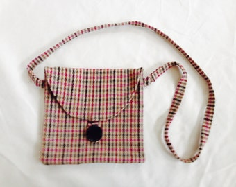 Sale - Cross Body Mini Hipster Bag - Plaid Wool, khaki and tan plaid hip bag, long strap, small size, mini hipster purse