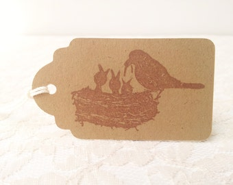 Bird Nest Family Kraft Tags Baby Shower Rustic and Vintage Set of 25