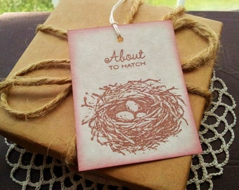 Baby Shower Birds Nest Tags Vintage Inspired Set of 6