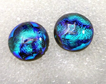 Dichroic Fused Glass Stud Earrings, Sparkling Silver Blue Glacier Ice Ripple rsb