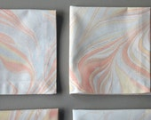 Set of Six Marbled Cotton Dinner Napkins in Pastel Shades