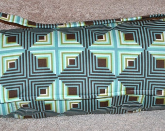 Nap Mat - Monogrammed Blue Seaglass Contempo Nap Mat with a Brown Minky Dot Blanket