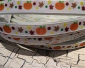 "3 yards 3/8"" Fall Halloween Pumpkin and Leaves grosgrain sold by the yard"