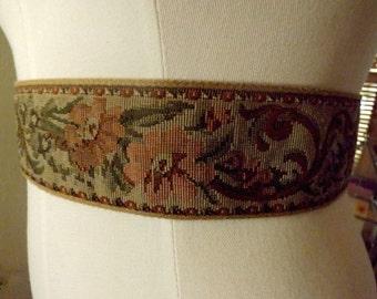 Vintage 70s Tapestry Tie Waist Cummerbund Boho Belt M L Free Shipping