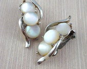 Vintage Signed Marhill Mother of Pearl Clip-On Earrings