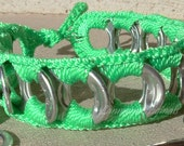 ReCycladelic Upcycled Pop Tab Bracelet Electric Neon Green Soda Can Pop Top Jewelry