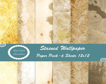 Stained Wallpaper Set of 6 PRINTABLE Digital Papers 12x12 Digital Download