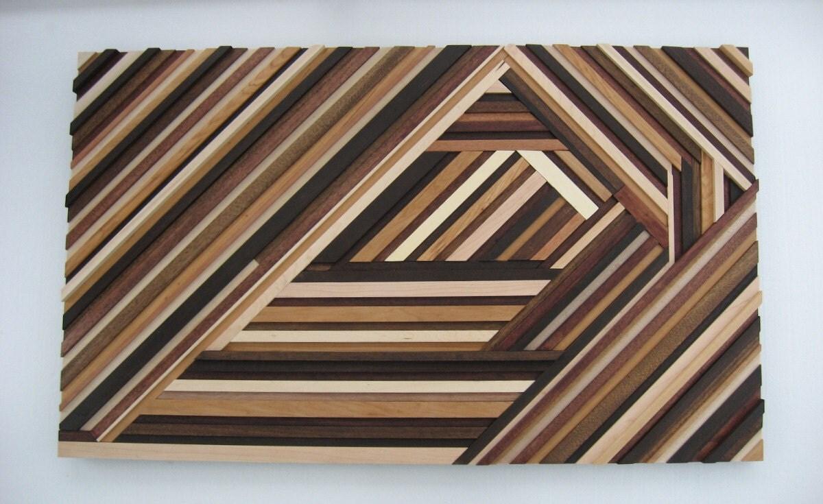 Geometric Wood Wall Art Abstract Wood Sculpture Triangles & Wood Abstract Wall Art - Elitflat