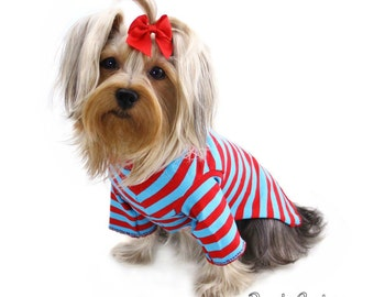 Red and Turquoise Stripe Dog Long Sleeve T-Shirt Clothes XXXS-Medium by Doogie Couture