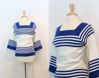 1970s Sweater/ Vintage Blue & White Nautical Sweater