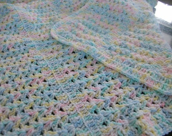 Variegated Crocheted Baby Blanket