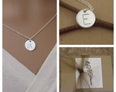 """Silver initial necklace - Hand stamped initial necklace - Simple silver initial charm - 1/2"""" initial charm necklace"""