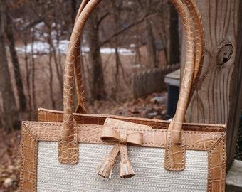 LizClaiborne Woven Rattan Purse Handbag with Leather Trim