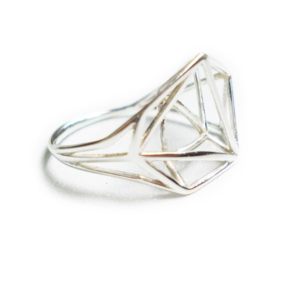 Geometric Ring, Geometric jewelry, Sterling Silver Ring, Gifts for Her, Structure Ring, Bridal Jewelry, Minimal Jewelry, Free Shipping,