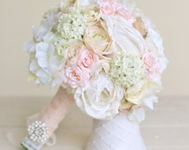 Silk Bride Bouquet Classic White Cream Pink Peonies Roses (Item Number 140418) NEW ITEM