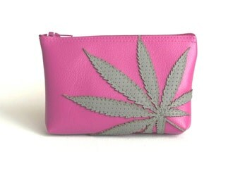"Cannabis Mini Clutch / Pot Leaf Pouch : Gray Marijuana Leaf Silhouette on Hot Pink - ""Amsterdamsel"""