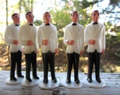 Vintage White Jacket Black Trousers Tuxedo Groom Groomsman Cake Topper