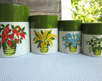 Vintage House Plants Theme Canister Set Metal Green Lid Creative Imports Japan