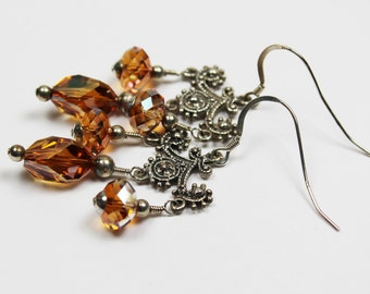 Crystal and Sterling Silver Long Chandelier Earrings - Topaz Amber  Swarovski Crystals - Beaded Jewelry 'Girls Night Out'