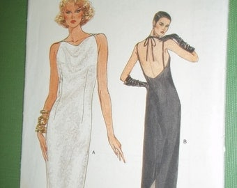 Misses sleeveless DRESS, sewing pattern open back high neckline 3 piece pattern, VOGUE 8982 Misses size 16 bust 38""