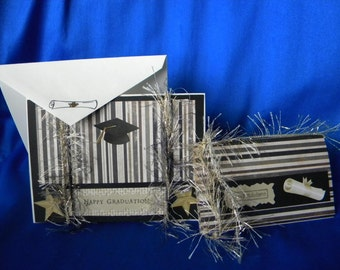 Stamped Happy Graduation, Congratulations Card/Gift Card Holder in Black/Brown/Gold with Diploma, Cap, Stars, Stripes, Inside Verse Options