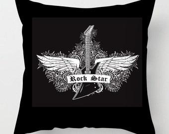 Rock Star guitar black cushion / pillow