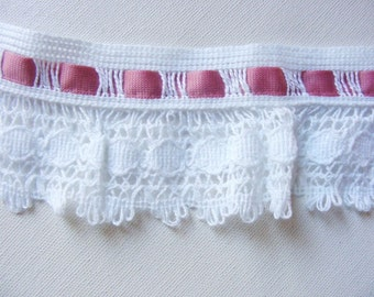 Vintage 1940's-50's White Crochet Trim  2 1/2 Inch with Rose Pink Ribbon