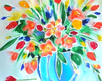 Original Watercolour Painting Collage