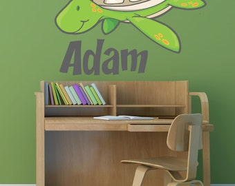 Sea Turtle Custom Name Vinyl Wall Decal Sticker