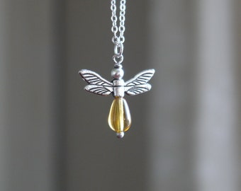Firefly Necklace - Silver and Amber