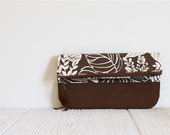Fold Over Clutch, Print Clutch, Vegan Clutch, Brown Print Clutch