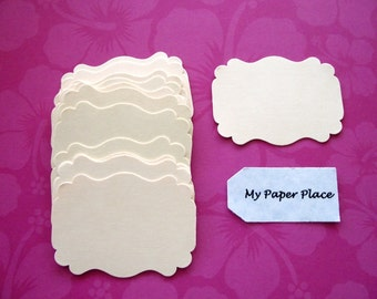 50 Ivory  Bracket Cards-Escort cards-Tags-Journaling-Scrapbooking  free secondary shipping