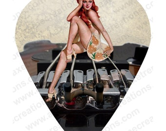 Axetreme Guitar Pick Wall Hanger - String Swing Hanger Included - Vintage Pinup Girl sitting on Guitar Bridge - Music Room Made in the USA